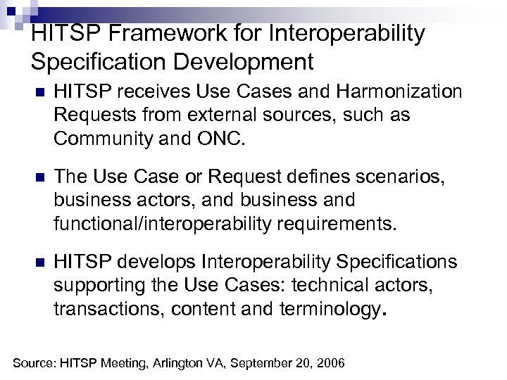 HITSP Framework for Interoperability Specification Development n HITSP receives Use Cases and Harmonization Requests