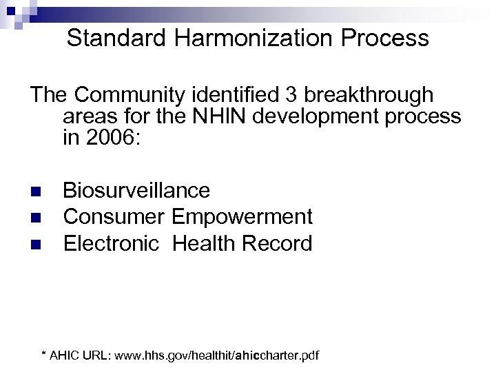 Standard Harmonization Process The Community identified 3 breakthrough areas for the NHIN development process