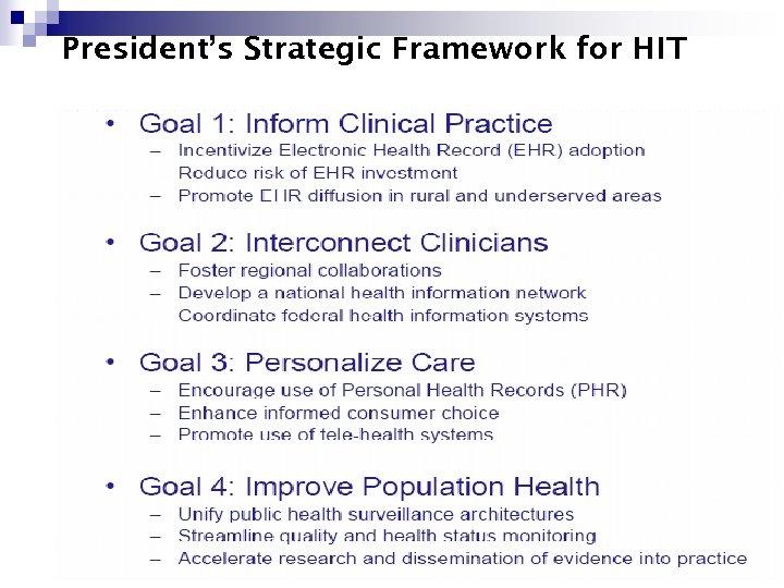 President's Strategic Framework for HIT