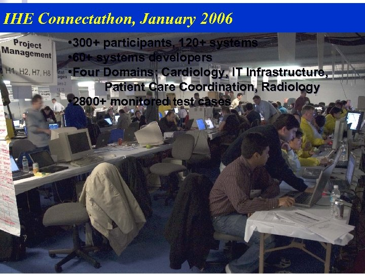 IHE Connectathon, January 2006 • 300+ participants, 120+ systems • 60+ systems developers •
