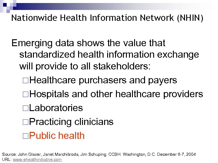 Nationwide Health Information Network (NHIN) Emerging data shows the value that standardized health information