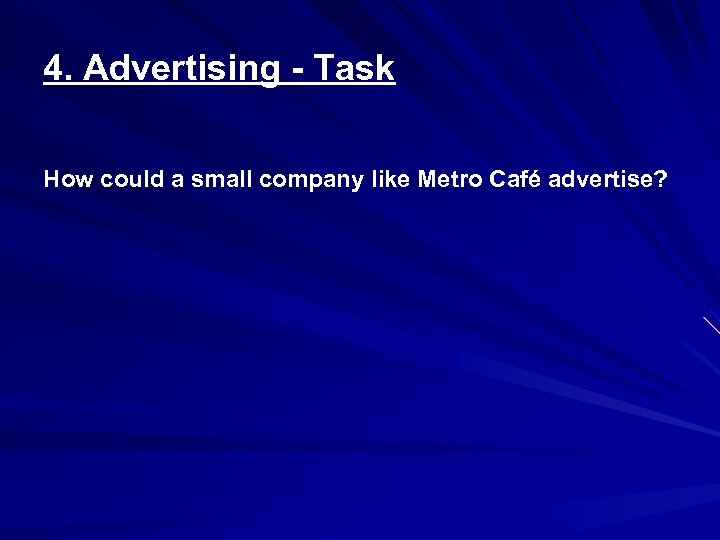 4. Advertising - Task How could a small company like Metro Café advertise?
