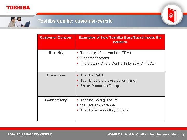 Toshiba quality: customer-centric Customer Concern Security Protection Connectivity TOSHIBA E-LEARNING CENTRE Examples of how