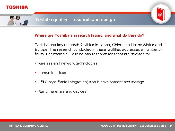 Toshiba quality - research and design Where are Toshiba's research teams, and what do