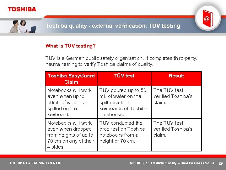 Toshiba quality - external verification: TÜV testing What is TÜV testing? TÜV is a