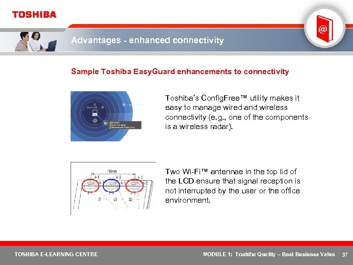 Advantages - enhanced connectivity Sample Toshiba Easy. Guard enhancements to connectivity Toshiba's Config. Free™