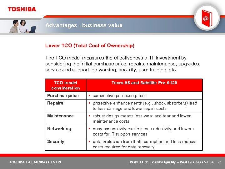 Advantages - business value Lower TCO (Total Cost of Ownership) The TCO model measures