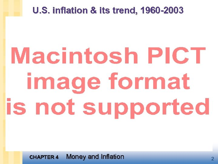 U. S. inflation & its trend, 1960 -2003 CHAPTER 4 Money and Inflation 2
