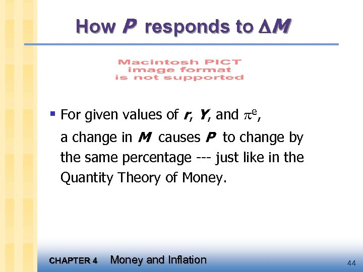 How P responds to M § For given values of r, Y, and e,