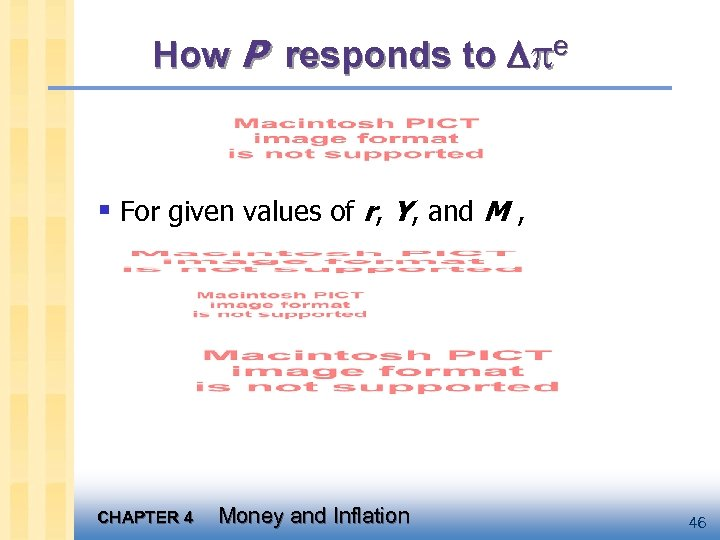 How P responds to e § For given values of r, Y, and M