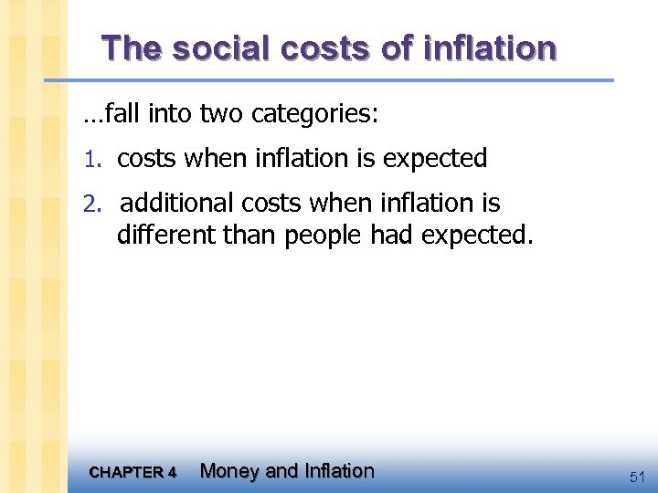The social costs of inflation …fall into two categories: 1. costs when inflation is