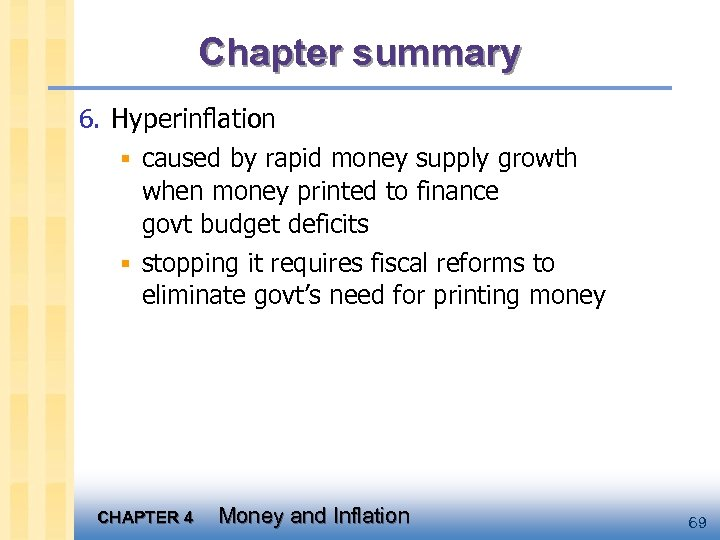 Chapter summary 6. Hyperinflation § caused by rapid money supply growth when money printed