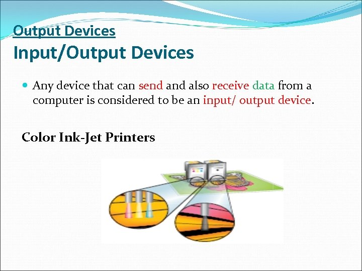 Output Devices Input/Output Devices Any device that can send also receive data from a