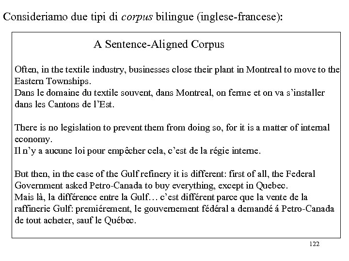 Consideriamo due tipi di corpus bilingue (inglese-francese): A Sentence-Aligned Corpus Often, in the textile