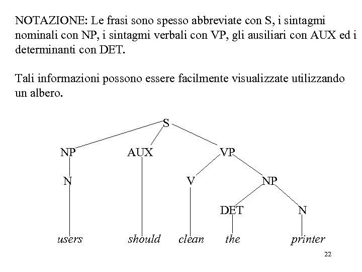 NOTAZIONE: Le frasi sono spesso abbreviate con S, i sintagmi nominali con NP, i