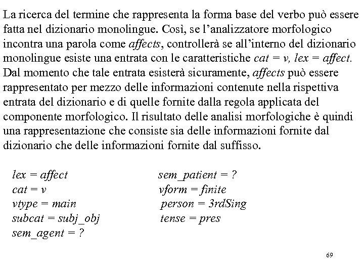 La ricerca del termine che rappresenta la forma base del verbo può essere fatta