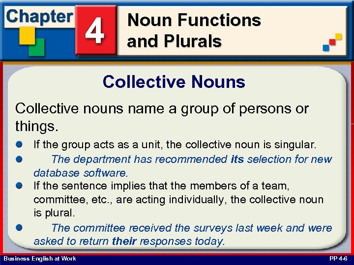 Noun Functions and Plurals Collective Nouns Collective nouns name a group of persons or