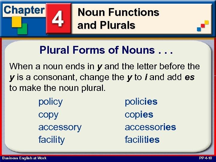 Noun Functions and Plurals Plural Forms of Nouns. . . When a noun ends