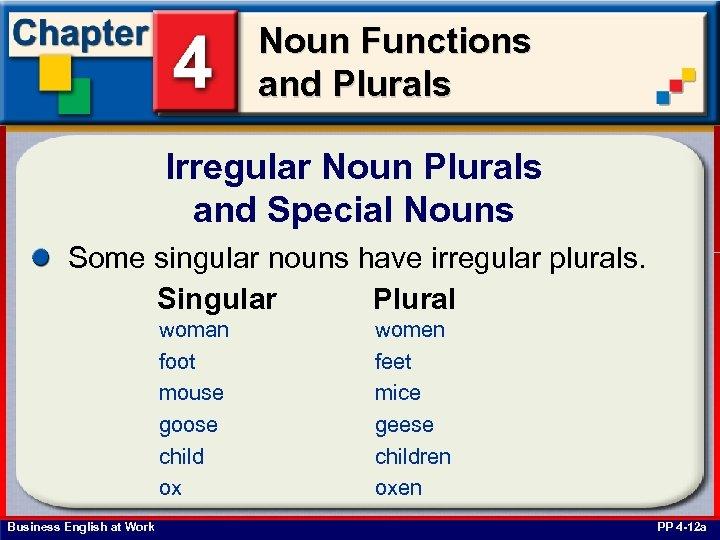 Noun Functions and Plurals Irregular Noun Plurals and Special Nouns Some singular nouns have