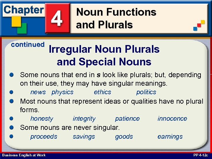 Noun Functions and Plurals continued Irregular Noun Plurals and Special Nouns Some nouns that