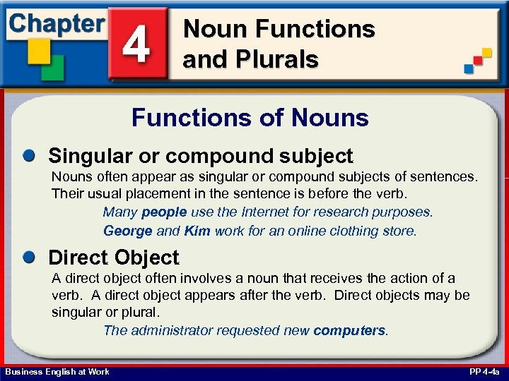 Noun Functions and Plurals Functions of Nouns Singular or compound subject Nouns often appear
