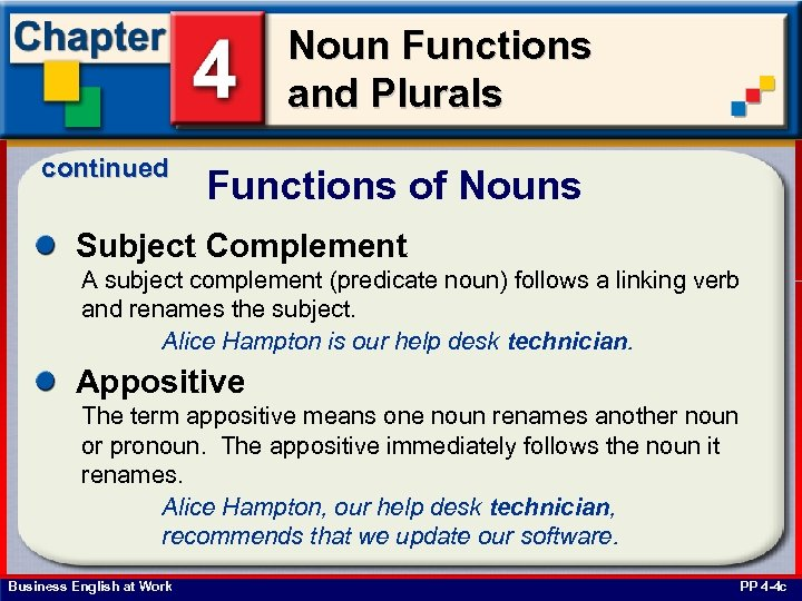 Noun Functions and Plurals continued Functions of Nouns Subject Complement A subject complement (predicate