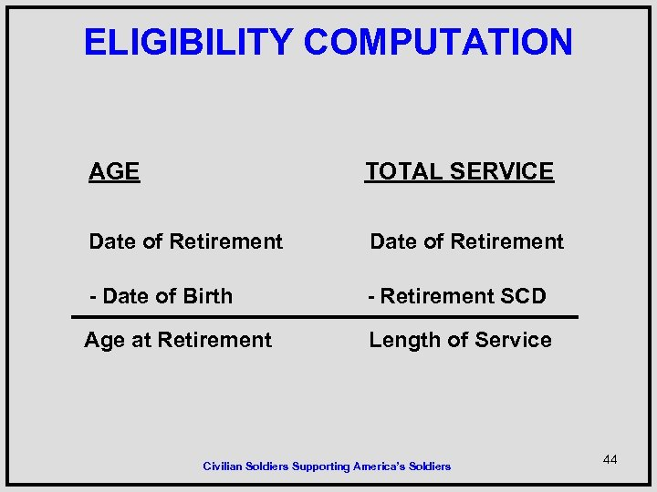 ELIGIBILITY COMPUTATION AGE TOTAL SERVICE Date of Retirement - Date of Birth - Retirement