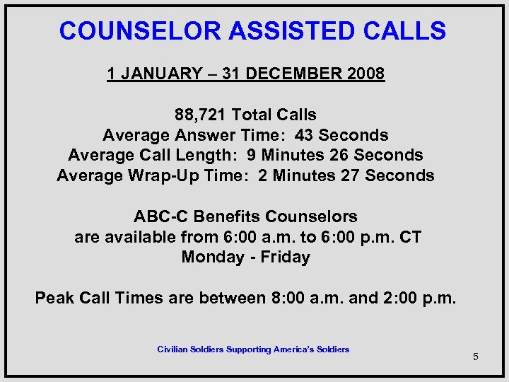 COUNSELOR ASSISTED CALLS 1 JANUARY – 31 DECEMBER 2008 88, 721 Total Calls
