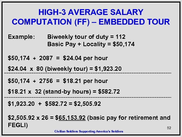 HIGH-3 AVERAGE SALARY COMPUTATION (FF) – EMBEDDED TOUR Example: Biweekly tour of duty =