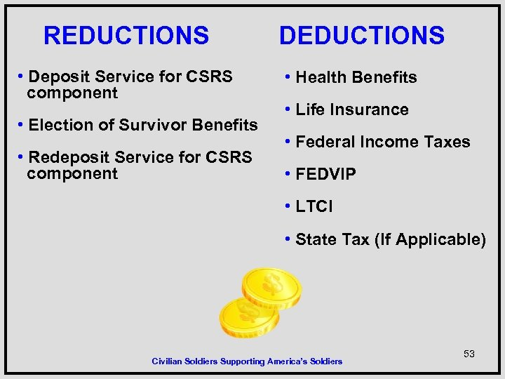 REDUCTIONS • Deposit Service for CSRS component • Election of Survivor Benefits • Redeposit
