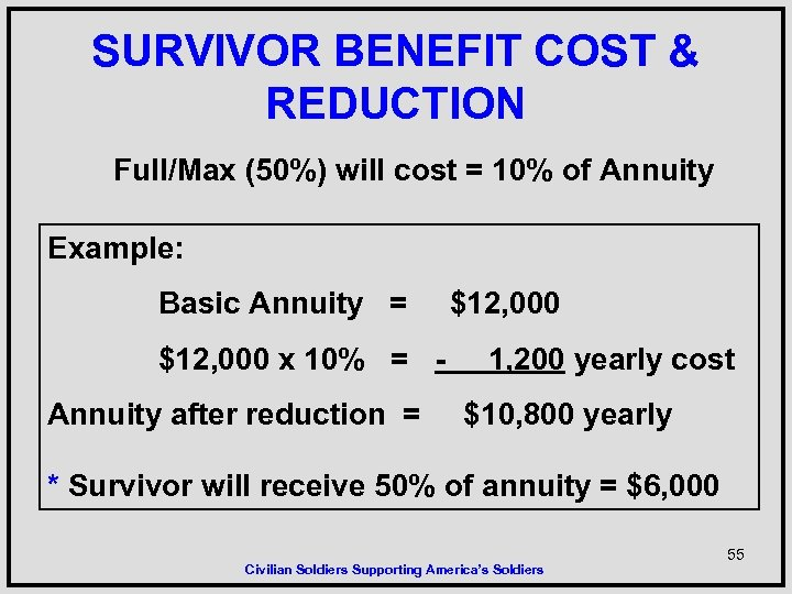 SURVIVOR BENEFIT COST & REDUCTION Full/Max (50%) will cost = 10% of Annuity Example: