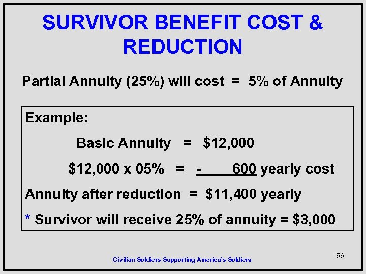 SURVIVOR BENEFIT COST & REDUCTION Partial Annuity (25%) will cost = 5% of Annuity