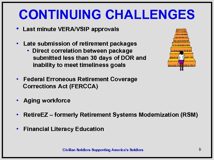 CONTINUING CHALLENGES • Last minute VERA/VSIP approvals • Late submission of retirement packages •