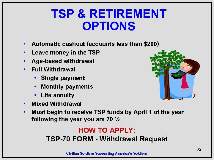 TSP & RETIREMENT OPTIONS • • Automatic cashout (accounts less than $200) Leave money