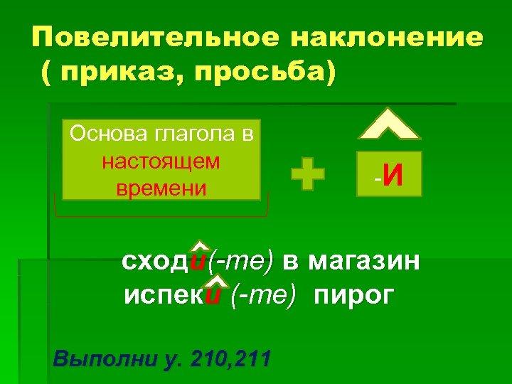 Повелительное наклонение ( приказ, просьба) Основа глагола в настоящем времени -И сходи(-те) в магазин