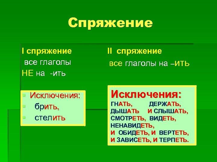 Спряжение I спряжение все глаголы НЕ на -ить § Исключения: § брить, § стелить
