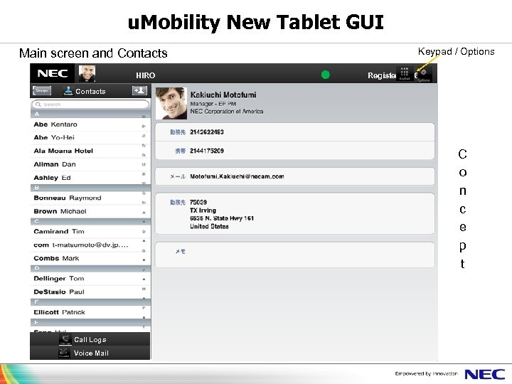 u. Mobility New Tablet GUI Main screen and Contacts          HIRO Keypad /