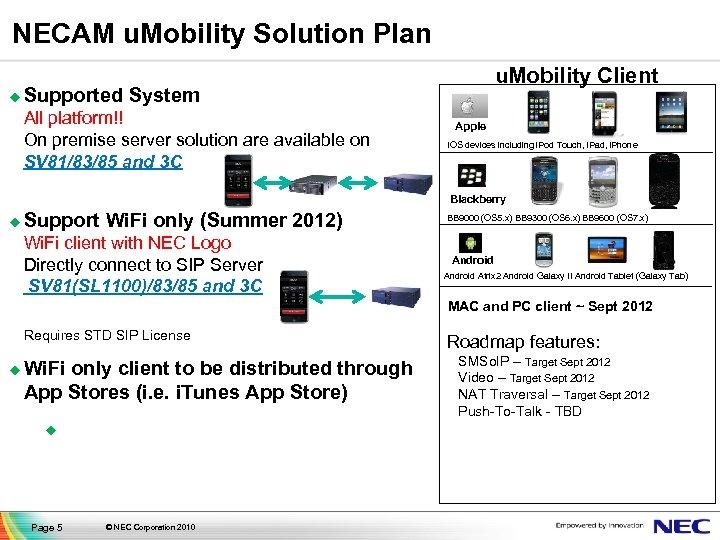 NECAM u. Mobility Solution Plan u u. Mobility Client Supported System All platform!! On