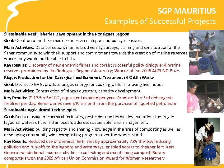 SGP MAURITIUS Examples of Successful Projects Sustainable Reef Fisheries Development in the Rodrigues Lagoon