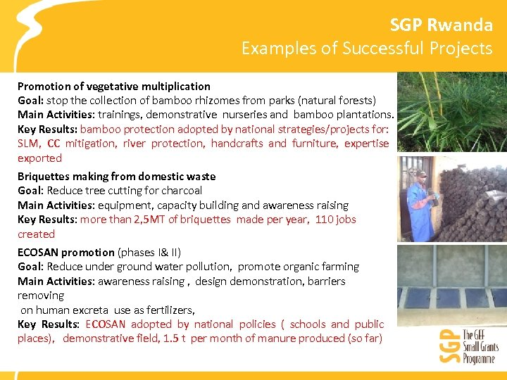 SGP Rwanda Examples of Successful Projects Promotion of vegetative multiplication Goal: stop the collection