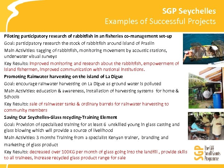SGP Seychelles Examples of Successful Projects Piloting participatory research of rabbitfish in an fisheries