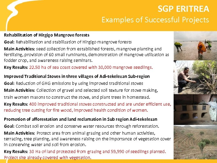 SGP ERITREA Examples of Successful Projects Rehabilitation of Hirgigo Mangrove forests Goal: Rehabilitation and