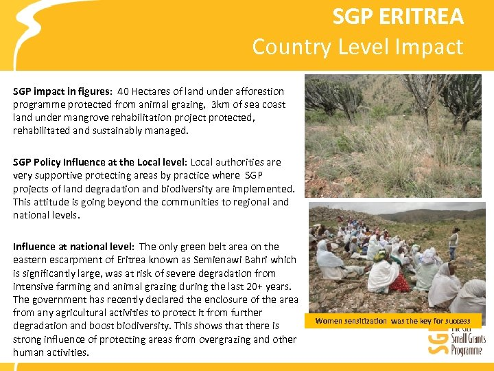 SGP ERITREA Country Level Impact SGP impact in figures: 40 Hectares of land under