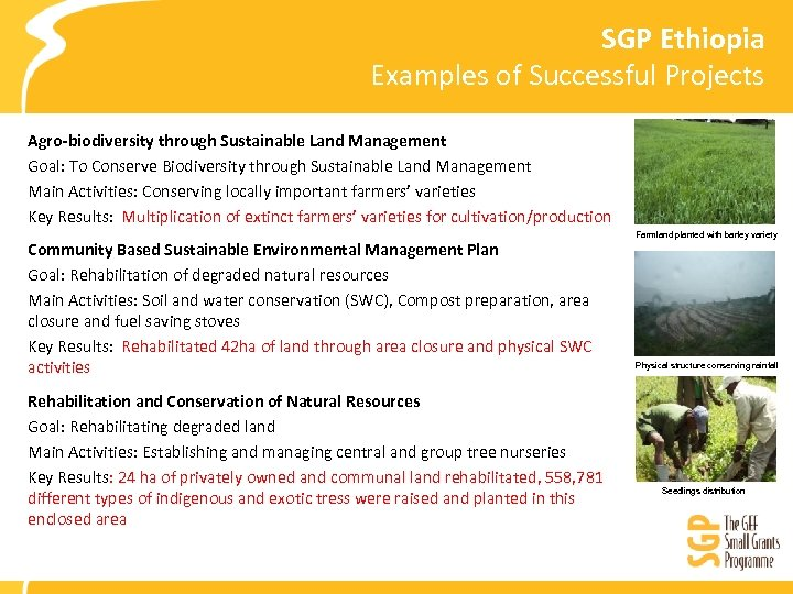 SGP Ethiopia Examples of Successful Projects Agro-biodiversity through Sustainable Land Management Goal: To Conserve