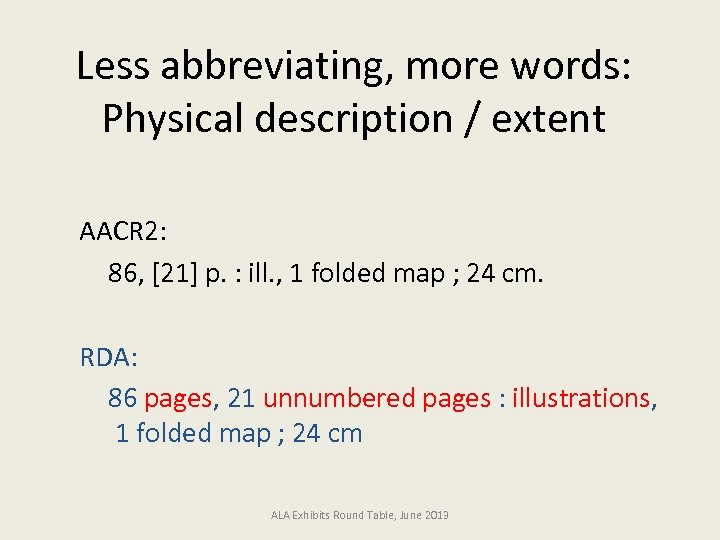 Less abbreviating, more words: Physical description / extent AACR 2: 86, [21] p. :