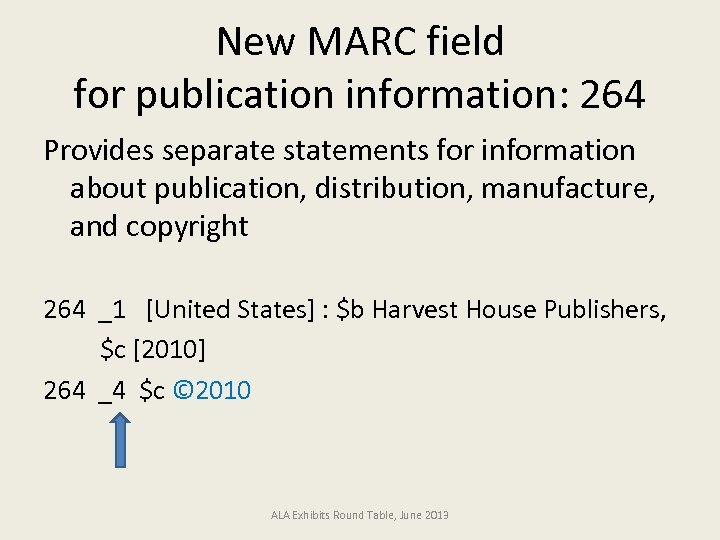 New MARC field for publication information: 264 Provides separate statements for information about publication,
