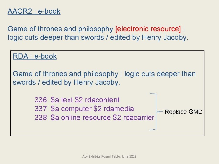 AACR 2 : e-book Game of thrones and philosophy [electronic resource] : logic cuts