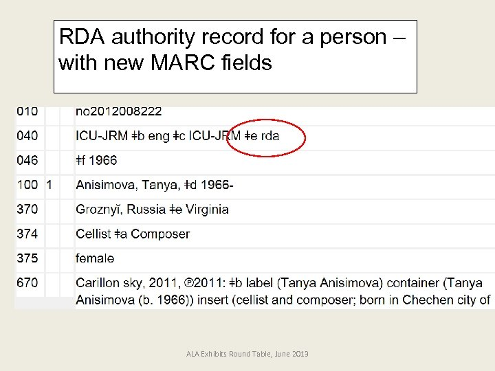 RDA authority record for a person – with new MARC fields ALA Exhibits Round