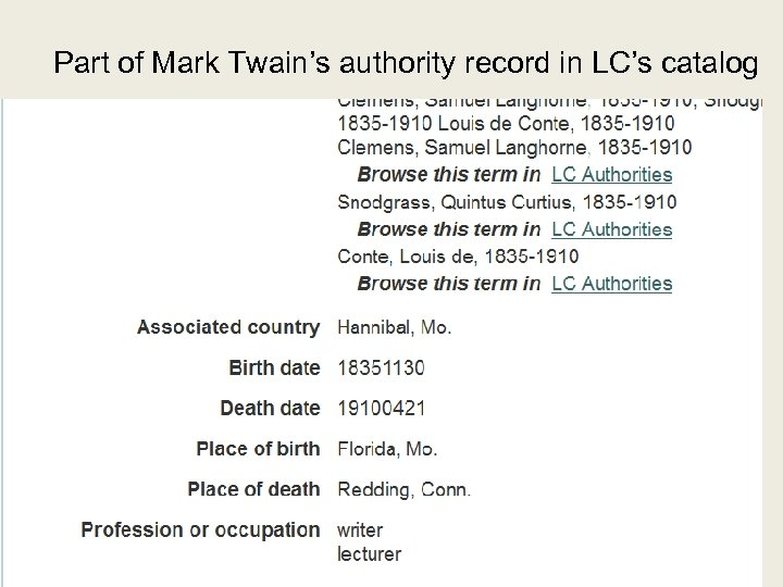 Part of Mark Twain's authority record in LC's catalog