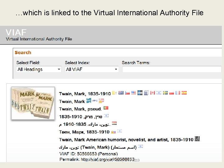 …which is linked to the Virtual International Authority File ALA Exhibits Round Table, June